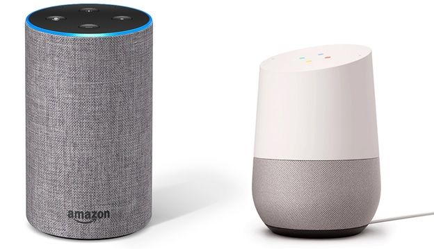 Picture of Amazon Alexa and Google Home Devices Side by Side