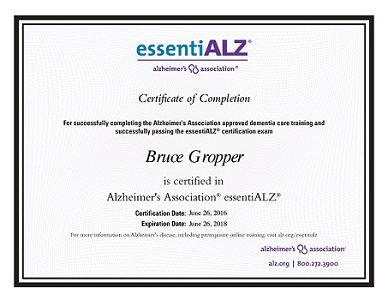 Alzheimer's Association essentiALZ certificate for Bruce Gropper Palm Beach Florida
