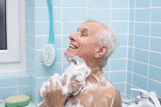Elderly man bathing