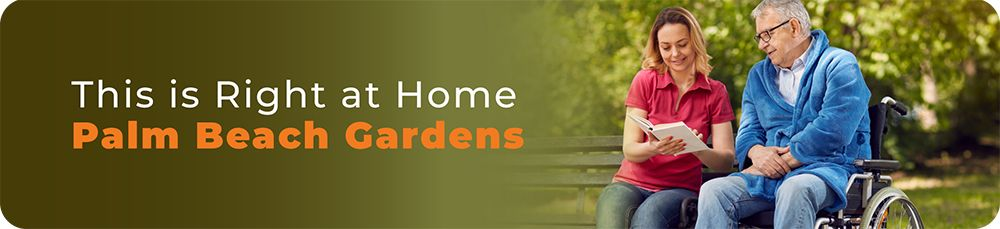 Caregiver and disabled senior reading in the garden