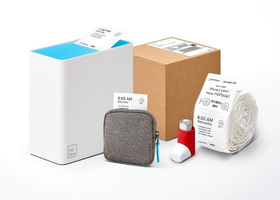 Photo of PillPack, Medication Labels, Inhaler and Shipping Box