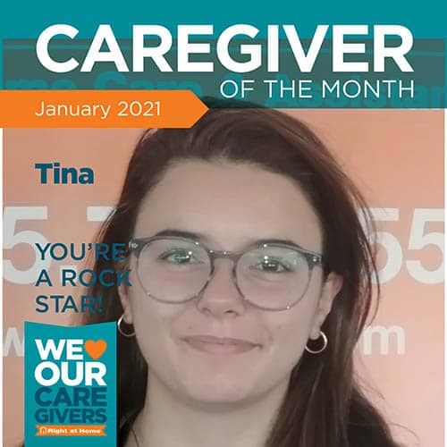 Right at Home of Hudson Valley, NY's Caregiver of the Month for January of 2021, Tina