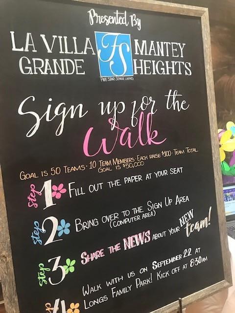 Alzheimer's Walk Chalkboard Sign
