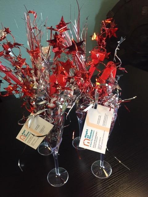 Flower display in vases