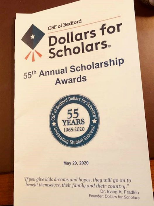 The Bedford Dollars for Scholars Scholarship Program brochure from 2020's event