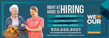 Hiring Blitz ad featuring open interviews every friday in october between 9am-4:30pm.  Female caregiver and female senior holding flowers featured on the ad.