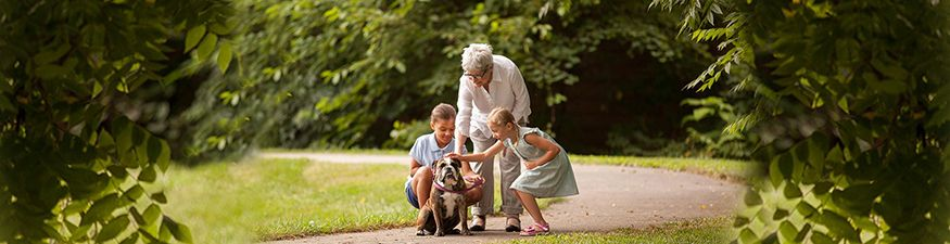 Grandmother walking with grandkids and dog.