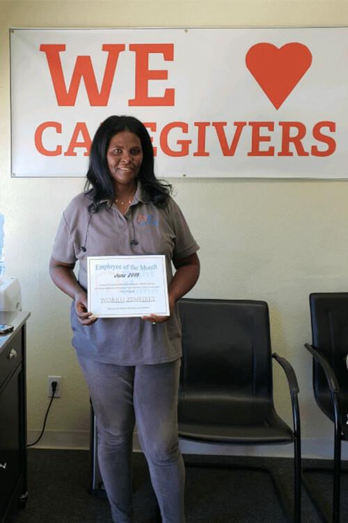 Worku Zemhret Caregiver of the Month June 2018