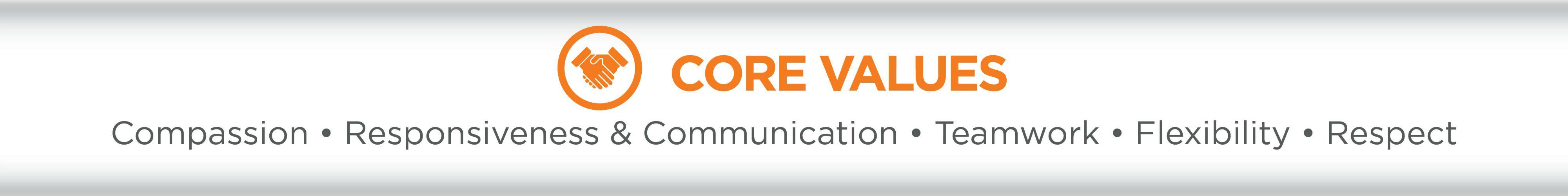 List of core values, Compassion, Responsiveness & Communication,Teamwork, Flexibility, Respect