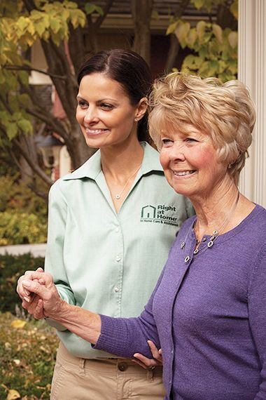 Right at Home Caregiver providing Companion Care on a Outdoor Walk