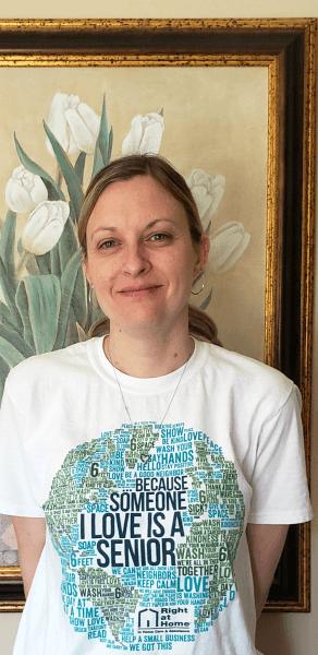 Caregiver wearing Someone I love a Senior t-shirt