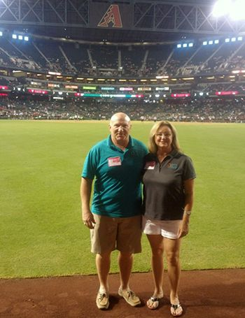 Mark and Becky on the field