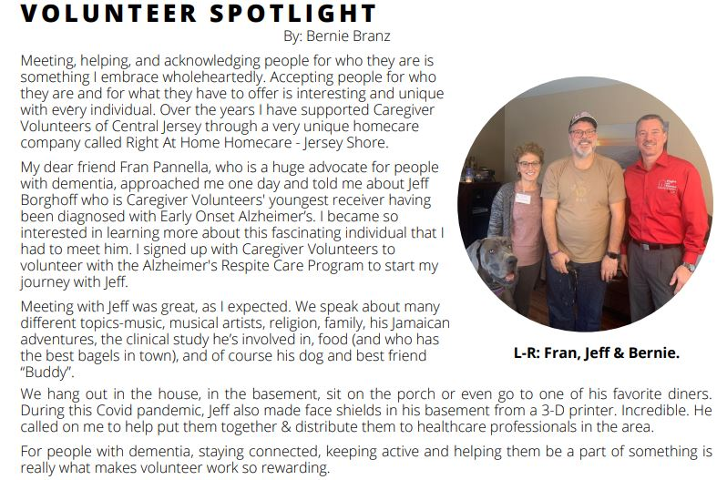 Image of the actual article in the Partners In Caring Newsletter from Caregiver Volunteers of Central Jersey from September of 2020.