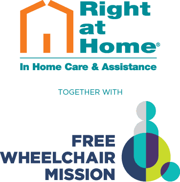 Right at Home and Free Wheelchair Mission logos